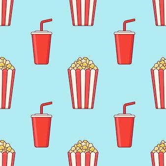 Nahtloses muster mit popcorn-eimer und tasse soda.