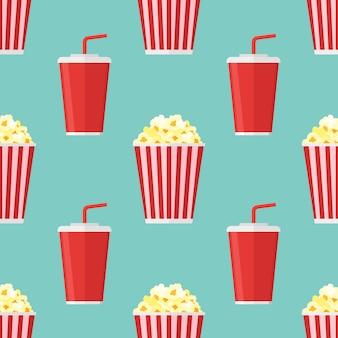 Nahtloses muster mit popcorn und soda zum mitnehmen