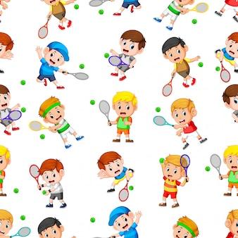 Nahtloses muster mit profi-tennis in aktion