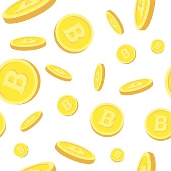 Nahtloses muster mit realistischen bitcoins