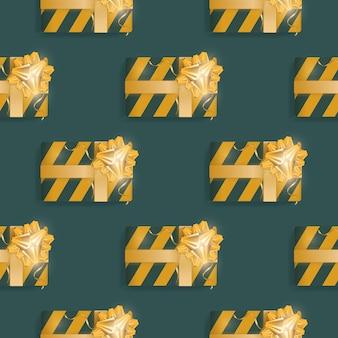 Nahtloses muster mit realistischen geschenken. endloser hintergrund. grüne und gelbe farbe. geeignet für postkarten, braunes papier und hintergründe. vektor-illustration.