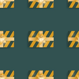 Nahtloses muster mit realistischen geschenken. endloser hintergrund. grüne und gelbe farbe. geeignet für postkarten, drucke, braunes papier und hintergründe. vektor-illustration.