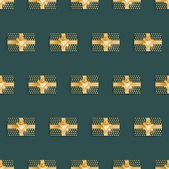 Nahtloses muster mit realistischen geschenken. endloser hintergrund. grüne und gelbe farbe. geeignet für postkarten, drucke, braunes papier und hintergründe. vektor