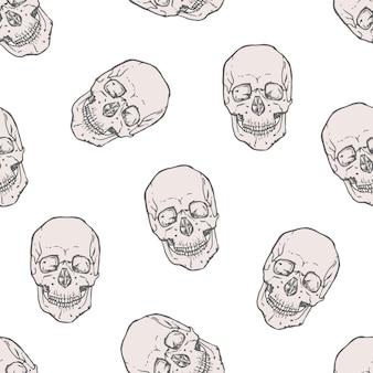 Nahtloses muster mit realistischen menschlichen schädeln auf weißem hintergrund