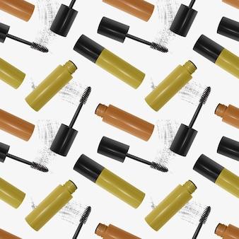 Nahtloses muster mit realistischer 3d-mascara-, pinsel- und mascara-textur