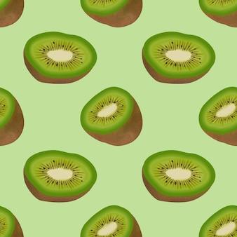 Nahtloses muster mit realistischer frischer reifer kiwi.