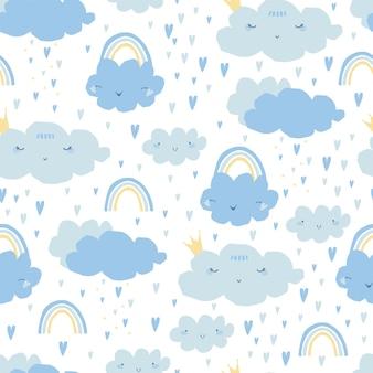 Nahtloses muster mit regenbogen, wolken, herzen für kinder.