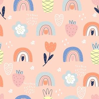 Nahtloses muster mit regenbogenblumen und -früchten vektorillustration zum drucken