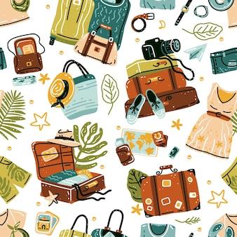 Nahtloses muster mit reisesachenobjekten