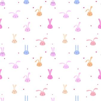 Nahtloses muster mit reizendem häschen, nette kaninchenkunst für kinder