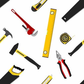 Nahtloses muster mit reparaturarbeitsgeräten