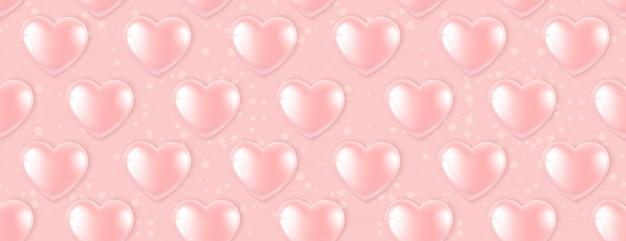 Nahtloses muster mit rosa ballonen in form eines herzens.
