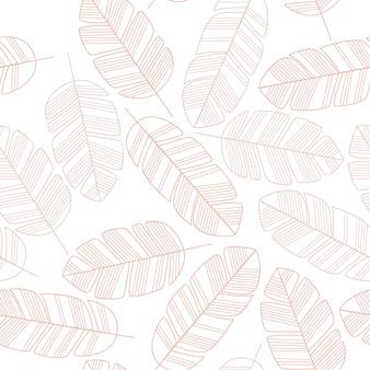 Nahtloses muster mit rosa blättern auf weißem hintergrund