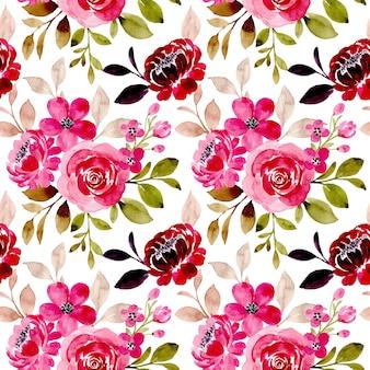 Nahtloses muster mit rosa blumenaquarell