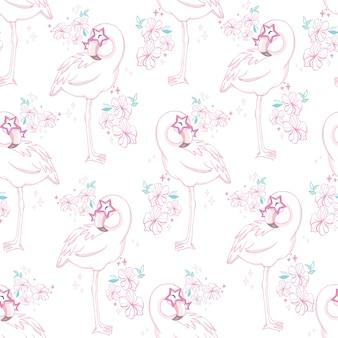 Nahtloses muster mit rosa flamingo der karikatur
