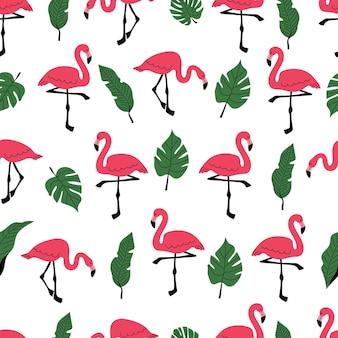 Nahtloses muster mit rosa flamingo und palmblättern ein muster mit exotischen vögeln ein bananenblatt Premium Vektoren