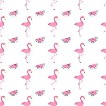 Nahtloses muster mit rosa flamingovögeln und wassermelonen