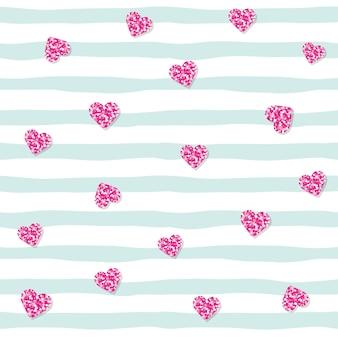 Nahtloses muster mit rosa funkeln confettiherzen auf gestreiftem hintergrund.