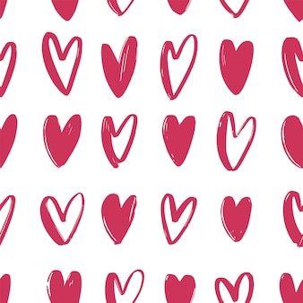 Nahtloses muster mit rosa hand gezeichneten herzen