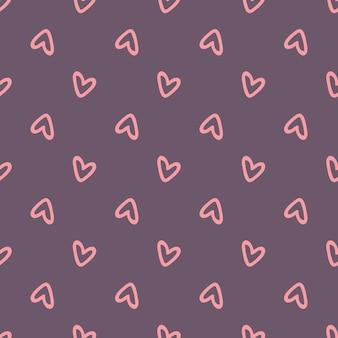 Nahtloses muster mit rosa herzen auf lila hintergrund. vektor-illustration