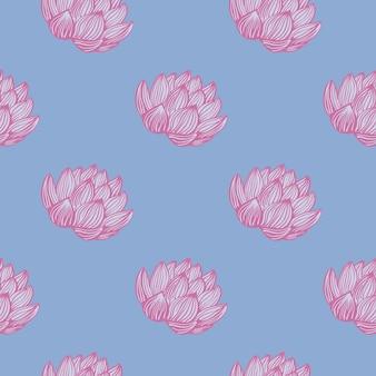 Nahtloses muster mit rosa konturierter lotusblume