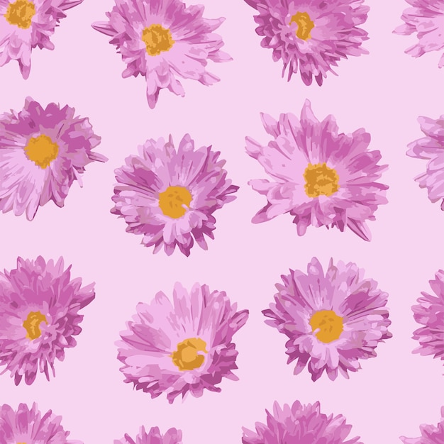Nahtloses muster mit rosa realistischen blumen auf rosa hintergrund