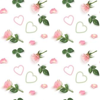 Nahtloses muster mit rosa rosenzweigen, blütenblättern und herzen auf einem weißen hintergrund