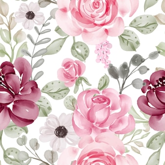 Nahtloses muster mit rosa und blättern der frühlingsblumen