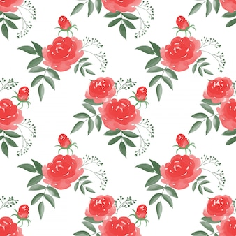Nahtloses muster mit rosen-blume verzweigt sich mit blättern auf weißem hintergrund.