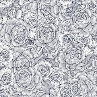 Nahtloses muster mit rosen. romantisch