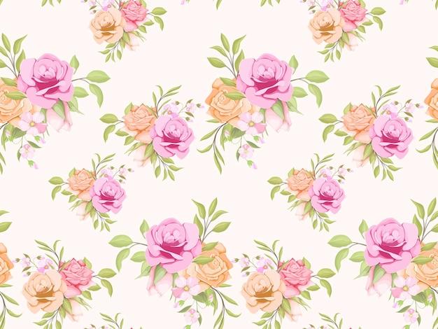 Nahtloses muster mit rosen und blättern Premium Vektoren
