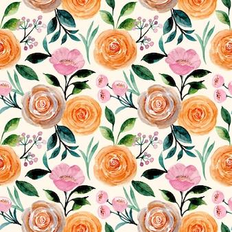 Nahtloses muster mit rosenblumenaquarell
