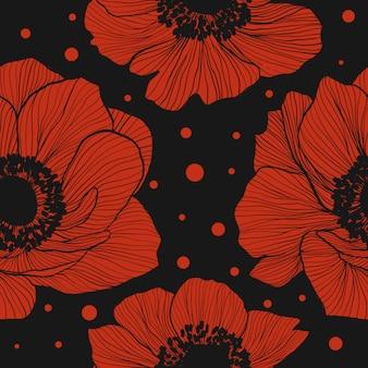 Nahtloses muster mit roten anemonen.