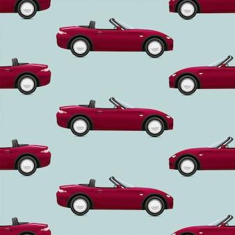 Nahtloses muster mit roten cabrioletautos auf grünem hintergrund