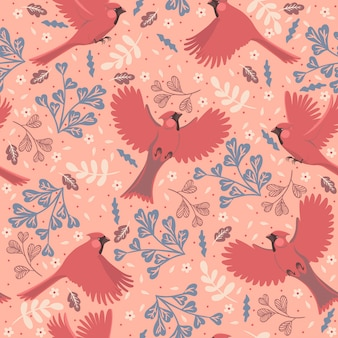 Nahtloses muster mit roten kardinälen der vögel.