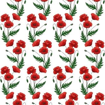 Nahtloses muster mit roten mohnblumen. papaver. grüne stängel und blätter. handgezeichnete vektor-illustration. auf weißem hintergrund.