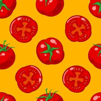 Nahtloses muster mit roten reifen tomaten und tomatenscheiben