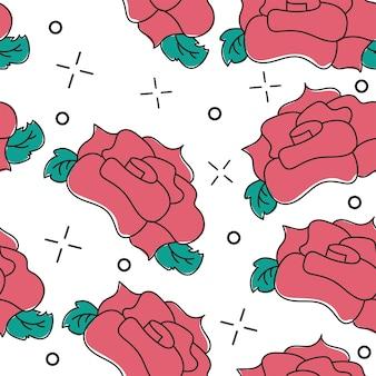 Nahtloses muster mit roten rosen auf weißem hintergrund. elegantes design für tapeten, hochzeitseinladungen, grußkarten, scrapbook, textildruck. vektor-illustration.