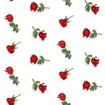 Nahtloses muster mit roten rosenzweigen auf einem weißen hintergrund
