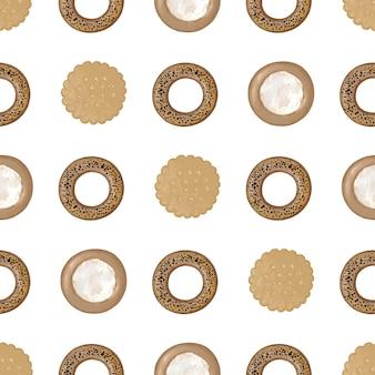 Nahtloses muster mit rundem kekskäsekuchen und bagels