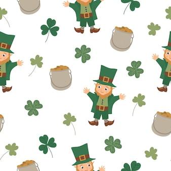 Nahtloses muster mit saint patrick day symbolen. wiederholter hintergrund des irischen nationalfeiertags. nette lustige koboldbeschaffenheit