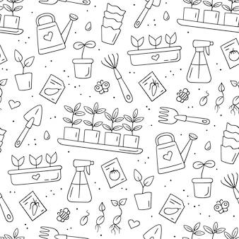 Nahtloses muster mit samen und sämlingen. keimung von sprossen. werkzeuge und töpfe zum pflanzen. handgemalt
