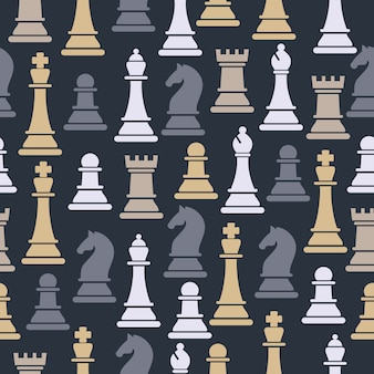 Nahtloses muster mit schachfiguren