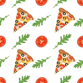 Nahtloses muster mit scheiben pizza rucola