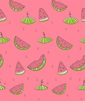 Nahtloses muster mit scheibenwassermelonen