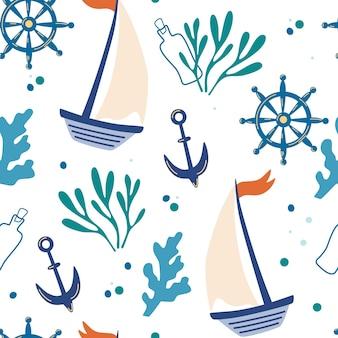Nahtloses muster mit schiffsankern und algen hintergrund mit meereselementen