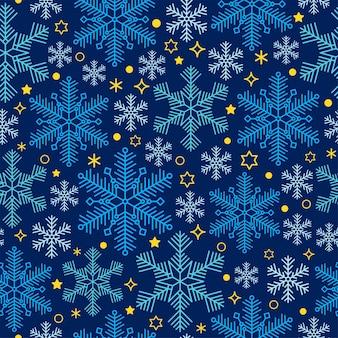 Nahtloses muster mit schneeflocken auf tiefblauem hintergrund. wintervektordesign für stoff, textil, tapete, verpackungsdesign.