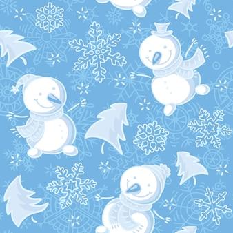 Nahtloses muster mit schneemännern und schneeflocken