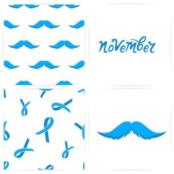 Nahtloses muster mit schnurrbärten, blauen bändern. die handgezeichnete inschrift ist november. karte für prostatakrebs-konzept.
