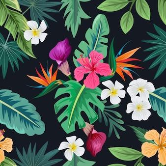 Nahtloses muster mit schönen tropischen blumen und verlässt exotischen hintergrund.